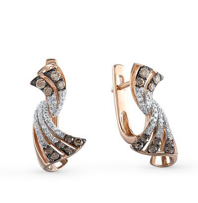 Фото «золотые серьги с коньячными и белыми бриллиантами»