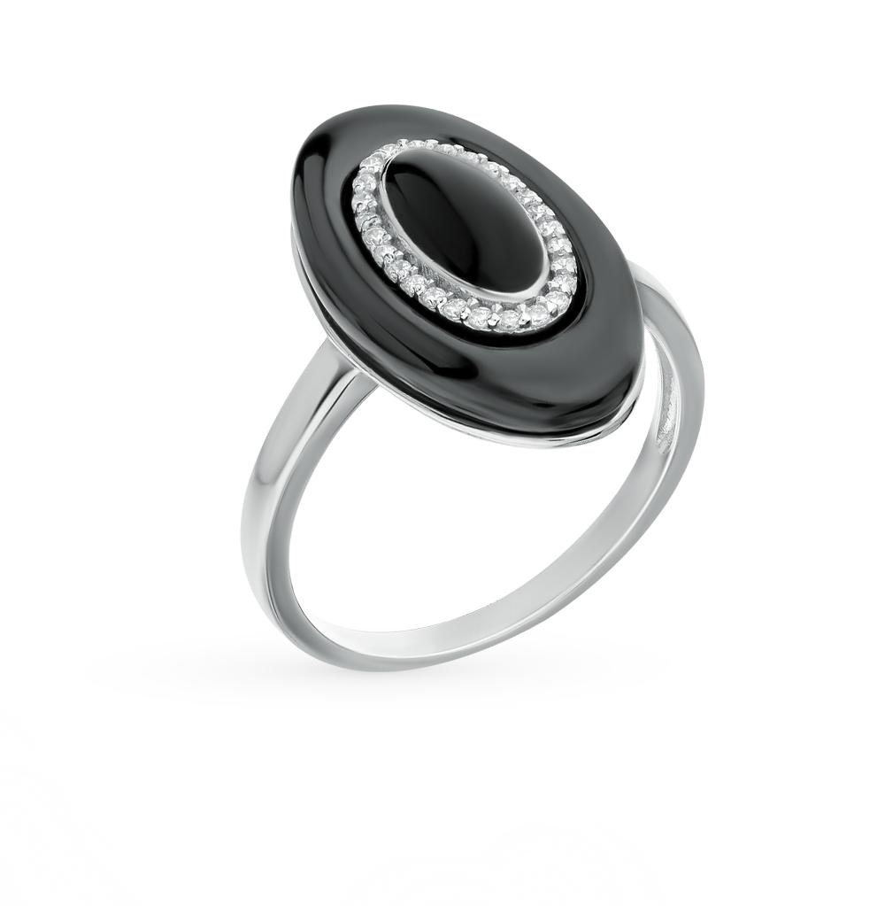 Фото «кольцо из серебра с фианитом, эмалью и керамикой»