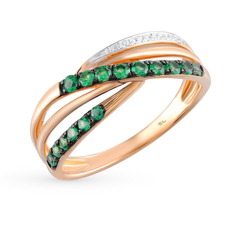 Фото «серебряное кольцо с бриллиантами, фианитами, изумрудами и жемчугом»