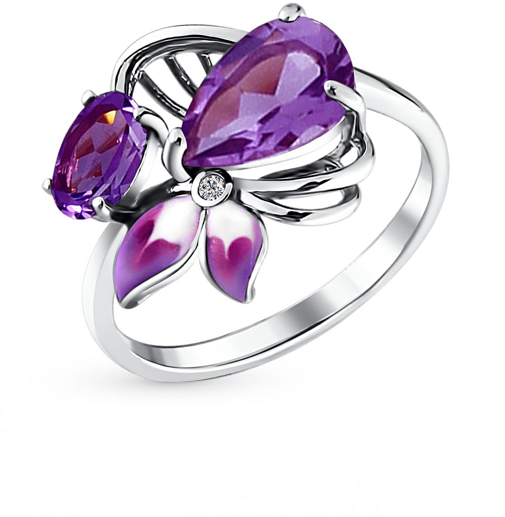 Фото «серебряное кольцо с аметистами, фианитами и эмалью»