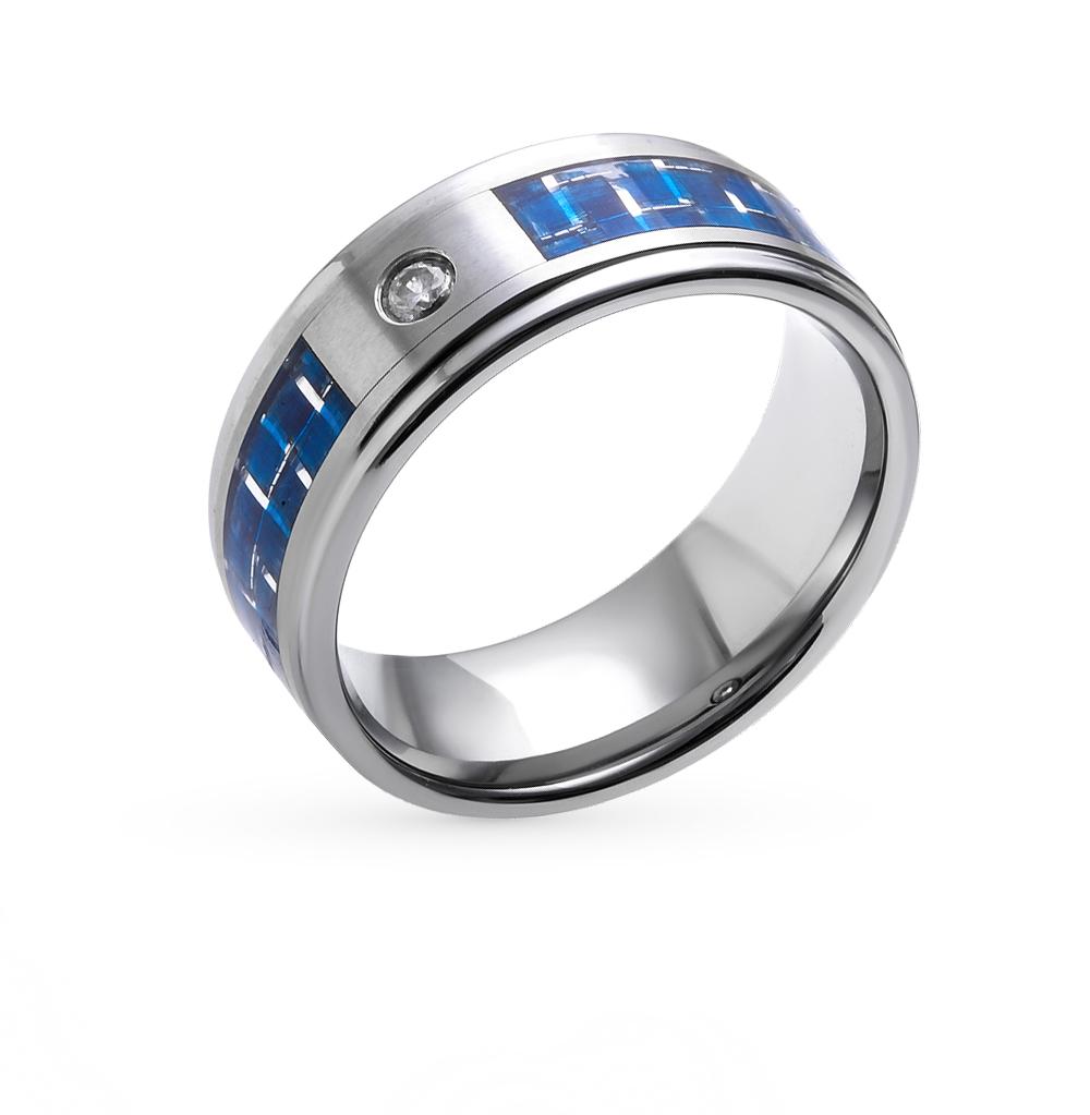 Фото «кольцо из вольфрама с карбоном и фианитом»