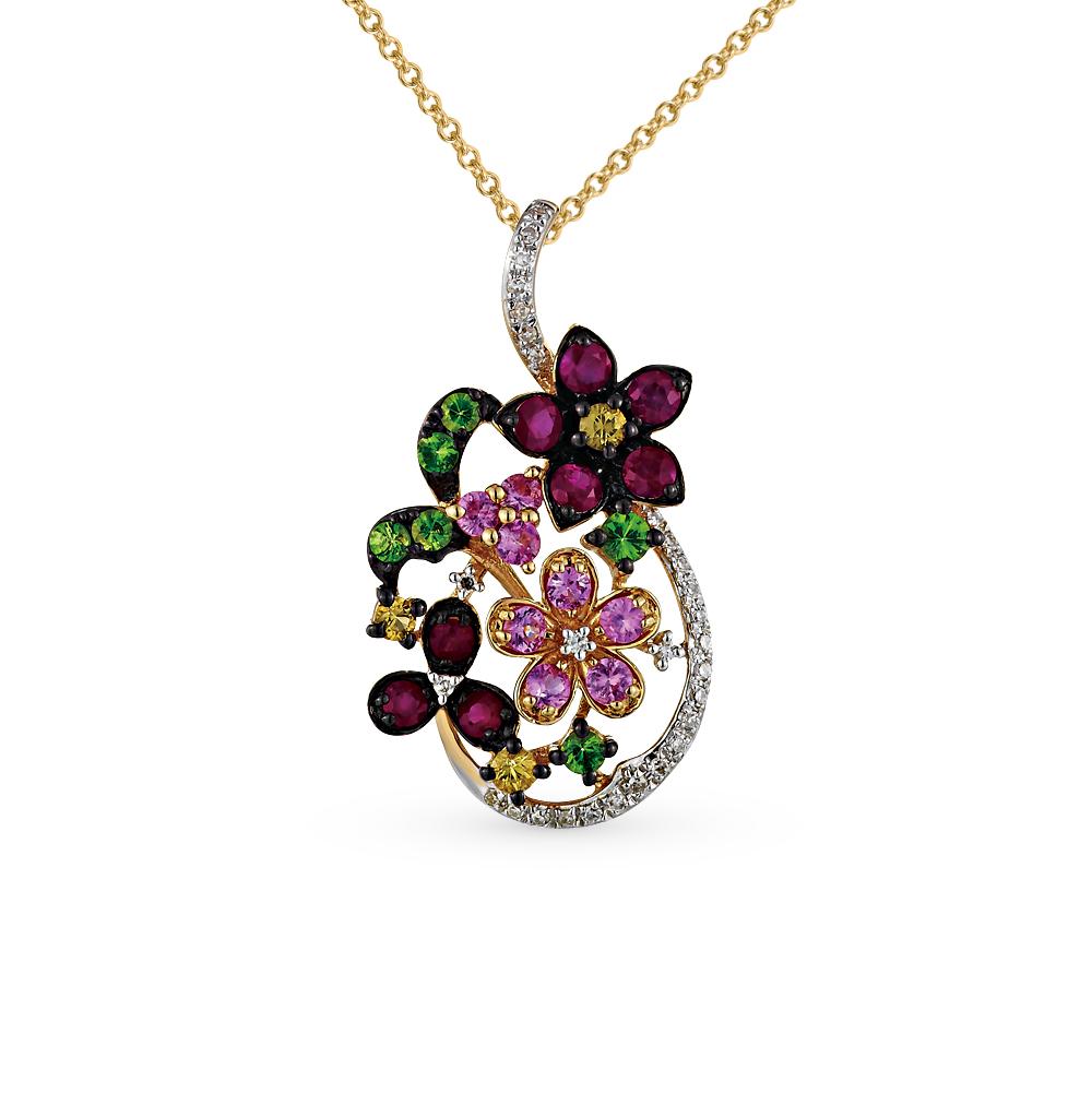 Фото «золотая подвеска с бриллиантами, гранатами, рубинами и сапфирами»