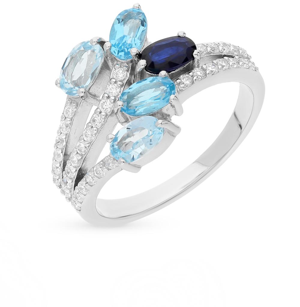 Фото «серебряное кольцо с сапфирами, топазами и фианитами»