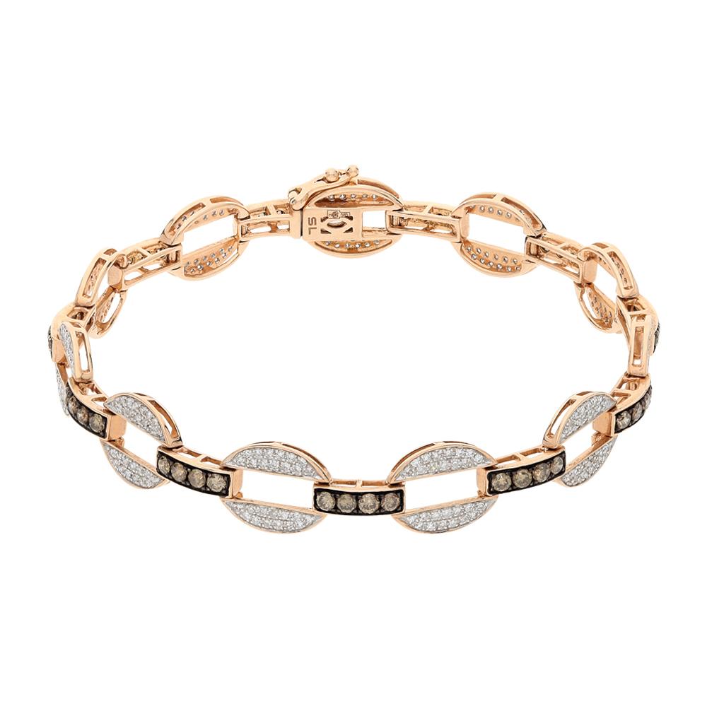 Фото «золотой браслет с коньячными и белыми бриллиантами»