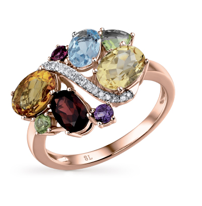золотое кольцо с аметистом, гранатом, цитринами, топазами, хризолитом и бриллиантами SUNLIGHT