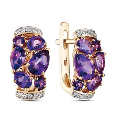 Фото «золотые серьги с бриллиантами и аметистами»