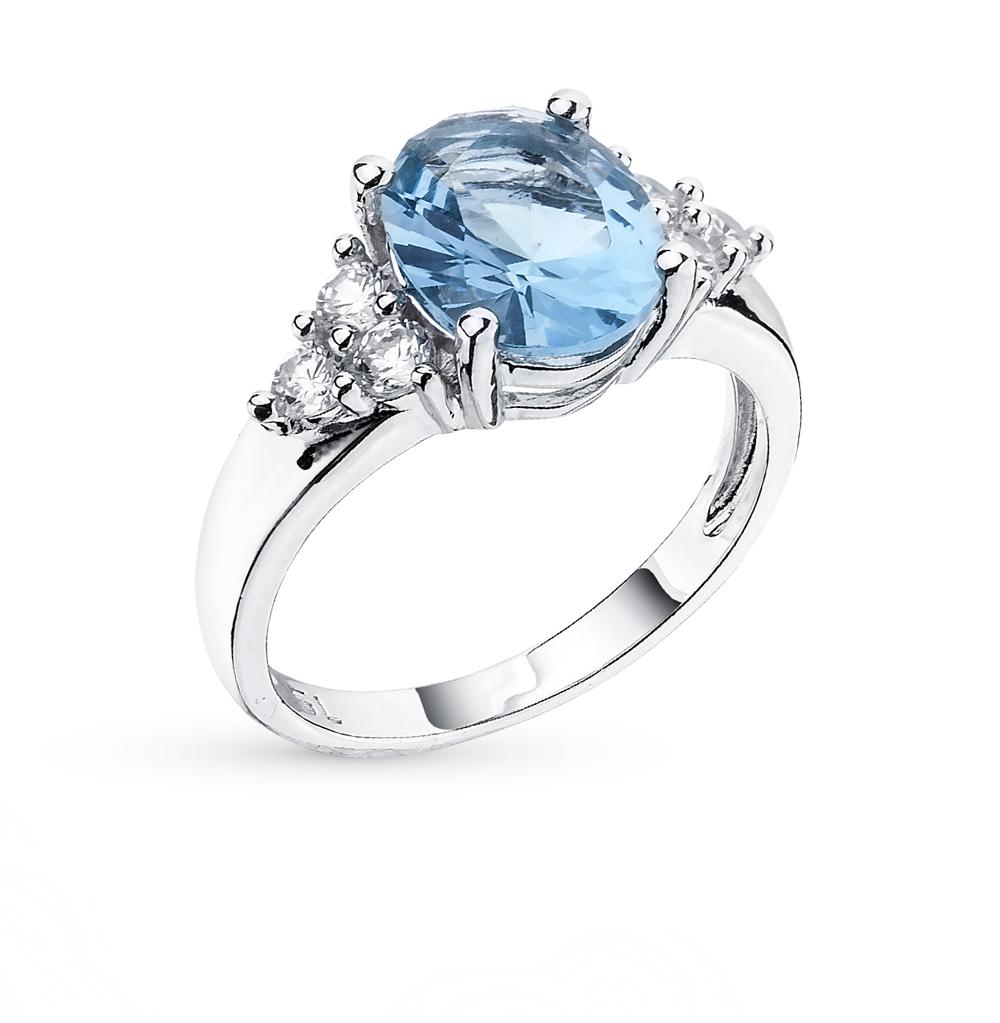 Фото «серебряное кольцо с сапфирами синтетическими, гранатами, фианитами и сапфирами»