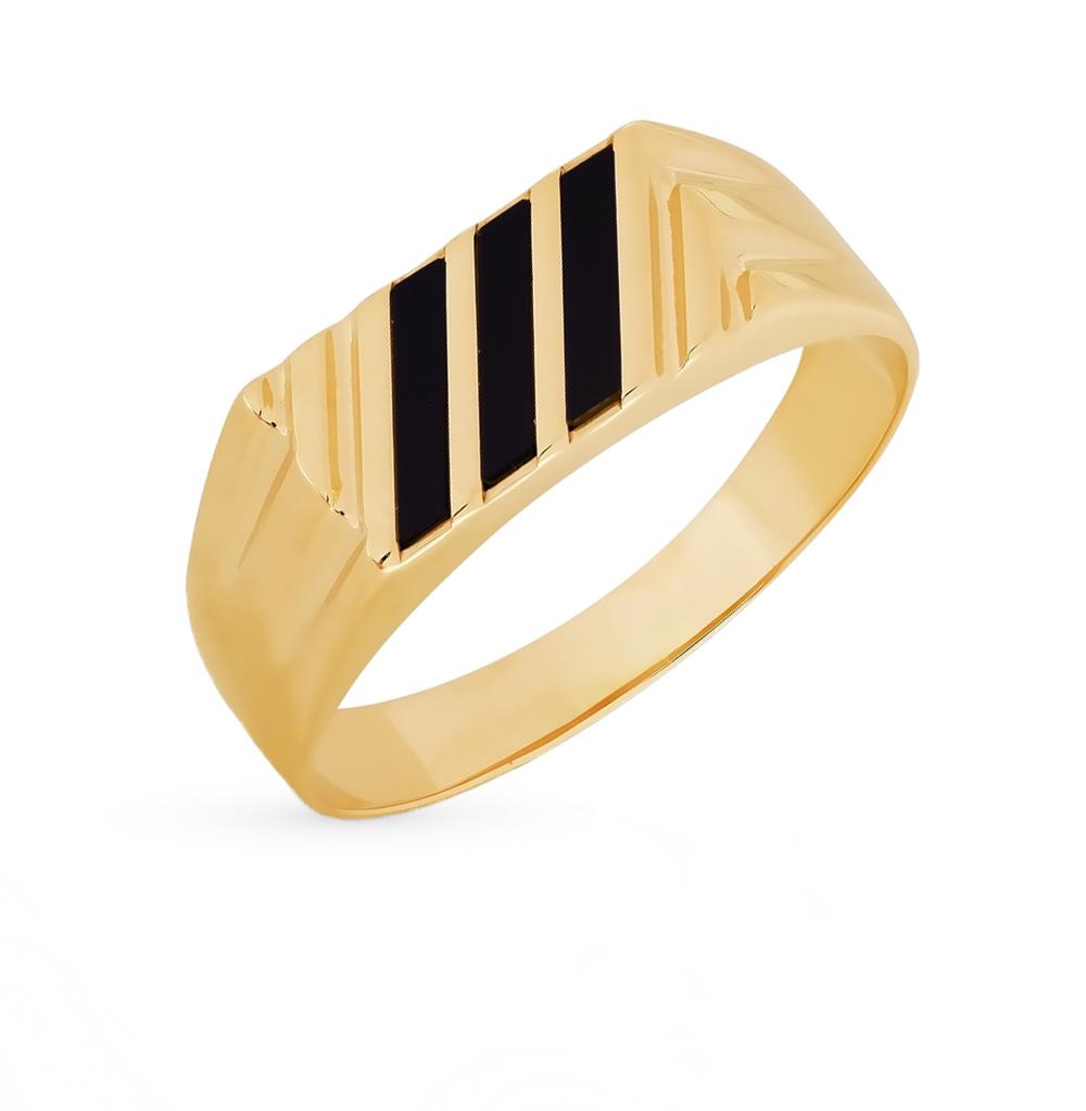 Фото «золотое кольцо с бриллиантами, ониксом и сапфирами»
