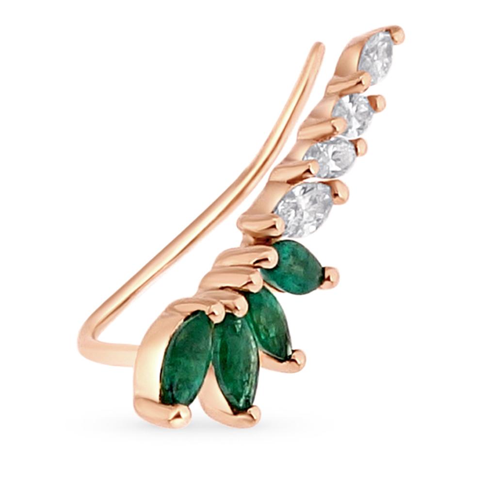Фото «золотая серьга с бриллиантами и изумрудами»