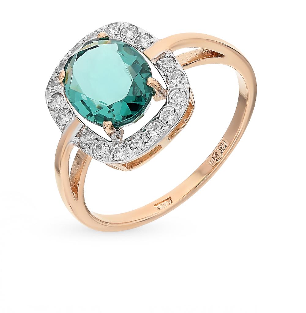 Фото «золотое кольцо с ситалами и фианитами»