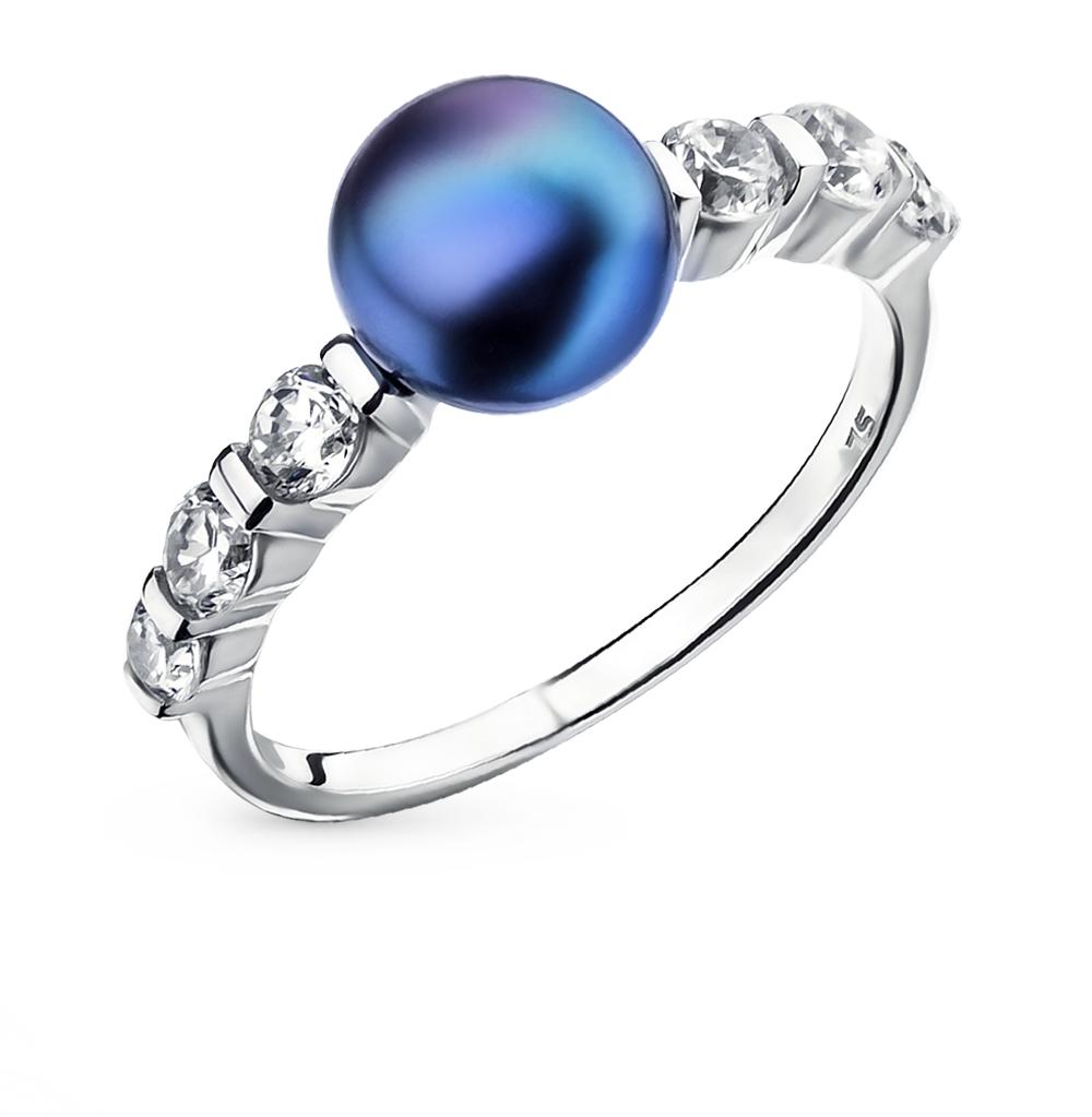Фото «серебряное кольцо с бриллиантами, топазами, фианитами и жемчугом»