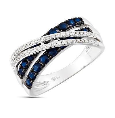 Фото «золотое кольцо с бриллиантами, сапфирами и жемчугом»