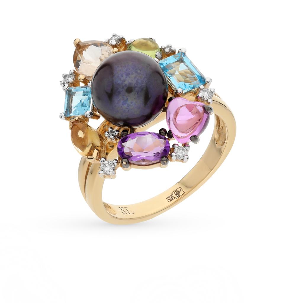 Фото «золото кольцо с бриллиантами, хризобериллами, цитринами, кварцами, топазами, сапфирами, аметистами и жемчугом»