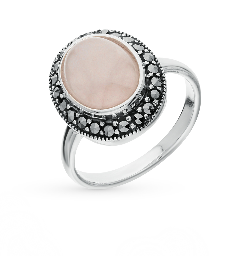 Фото «серебряное кольцо с марказитами и кварцами»
