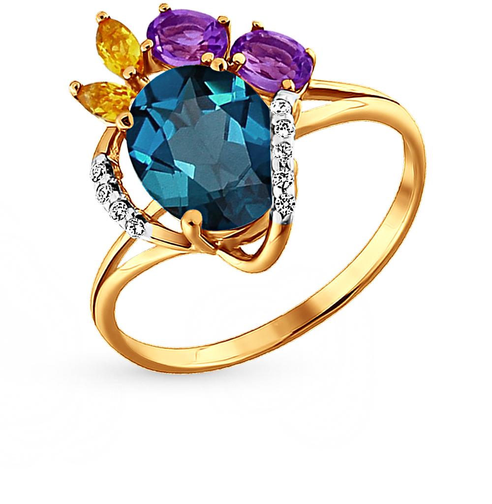 Фото «золотое кольцо с аметистами, цитринами, топазами и фианитами»