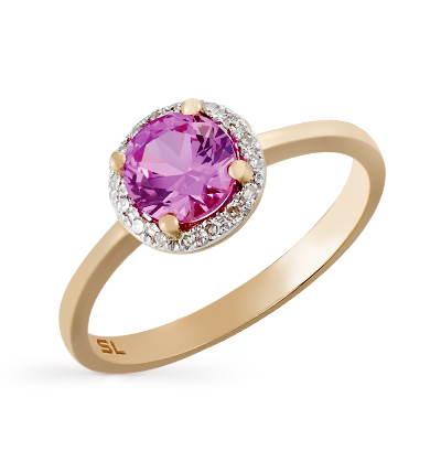 Фото «золотое кольцо с бриллиантами и сапфирами синтетическими»