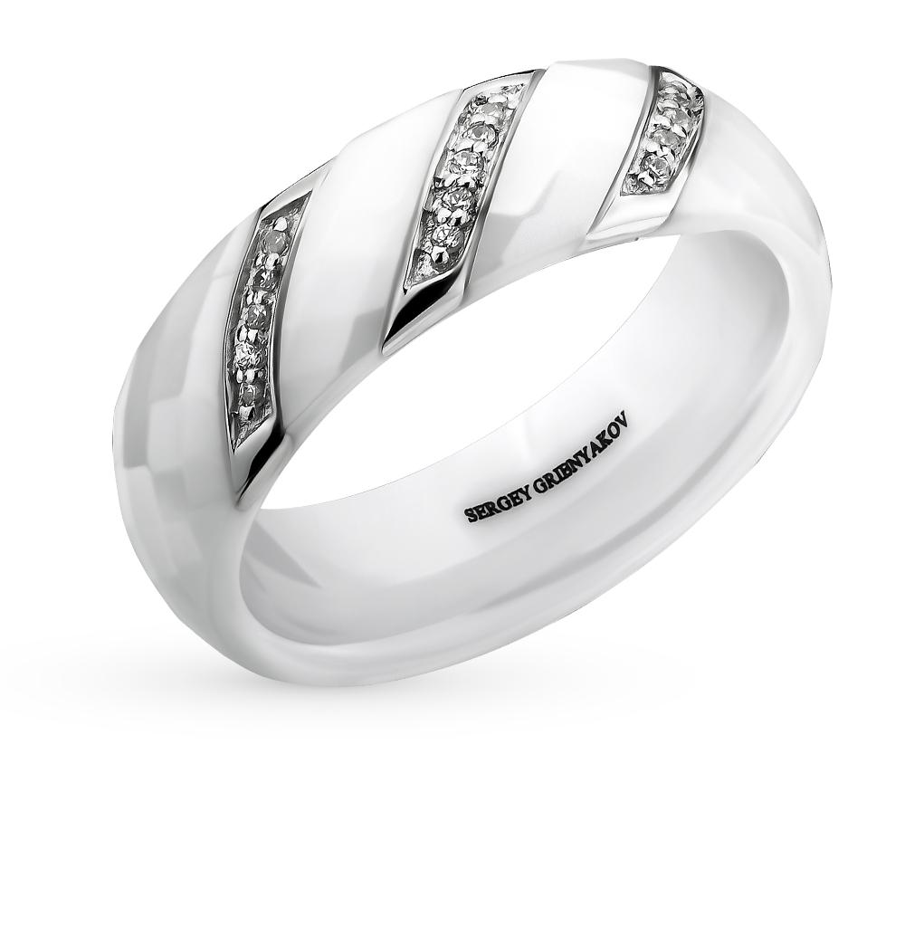 Фото «кольцо из керамики и стали с фианитом»