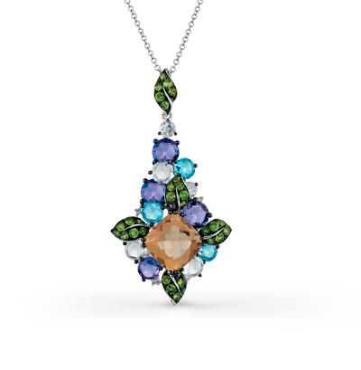 Фото «золотая подвеска с бриллиантами, аметистами, гранатами, кварцами и топазами»