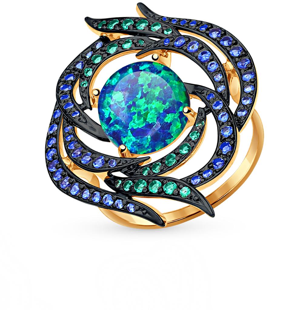 Фото «золотое кольцо с опалами синтетическими и фианитами»