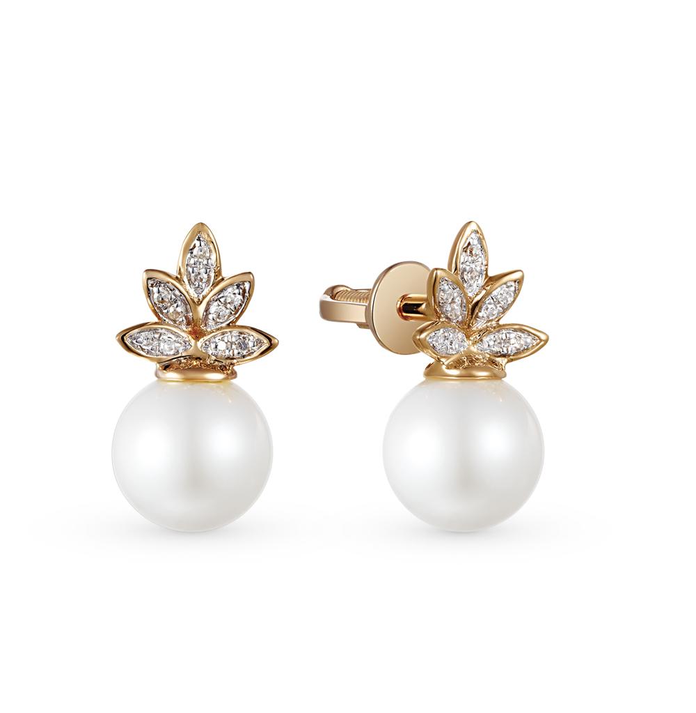 Фото «золотые серьги с бриллиантами, жемчугами культивированными и жемчугами»
