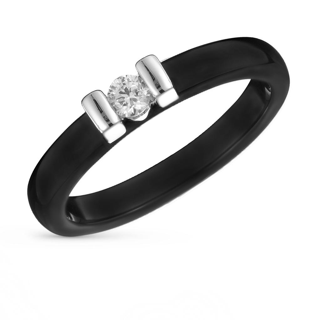 Фото «кольцо из стали и керамики с фианитом»