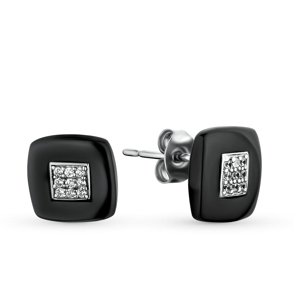 Фото «керамические серьги с серебром и фианитами»