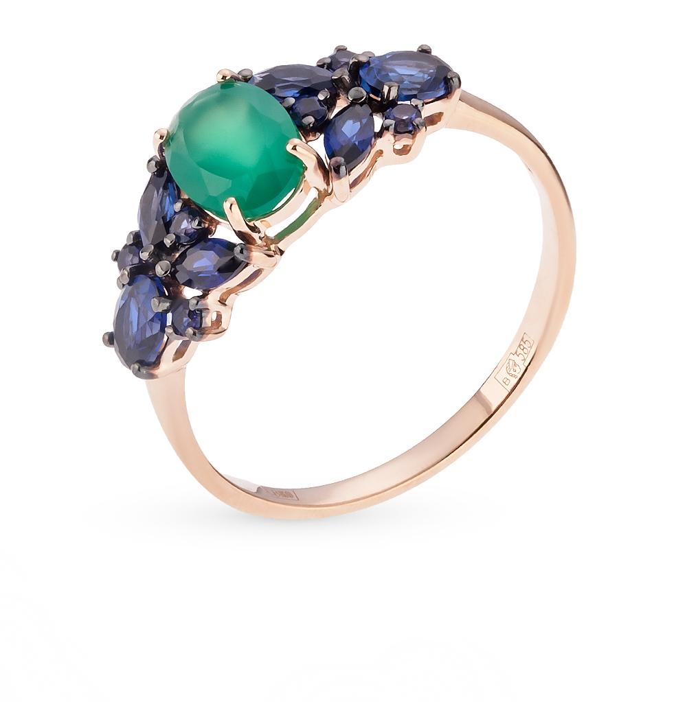 Фото «золотое кольцо с корундами и агатами»