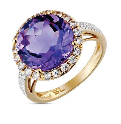 Фото «золотое кольцо с аметистами и сапфирами»