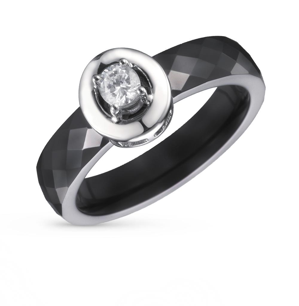 Фото «кольцо из керамики с серебром и фианитом»