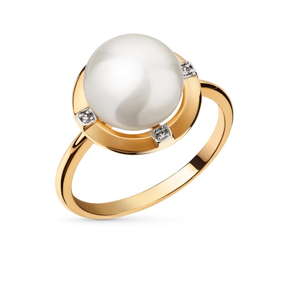 Фото «золотое кольцо с фианитами и жемчугами»