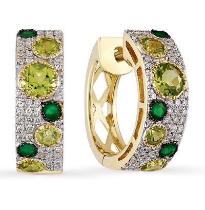 Фото «золотые серьги с бриллиантами, изумрудами и хризолитами»