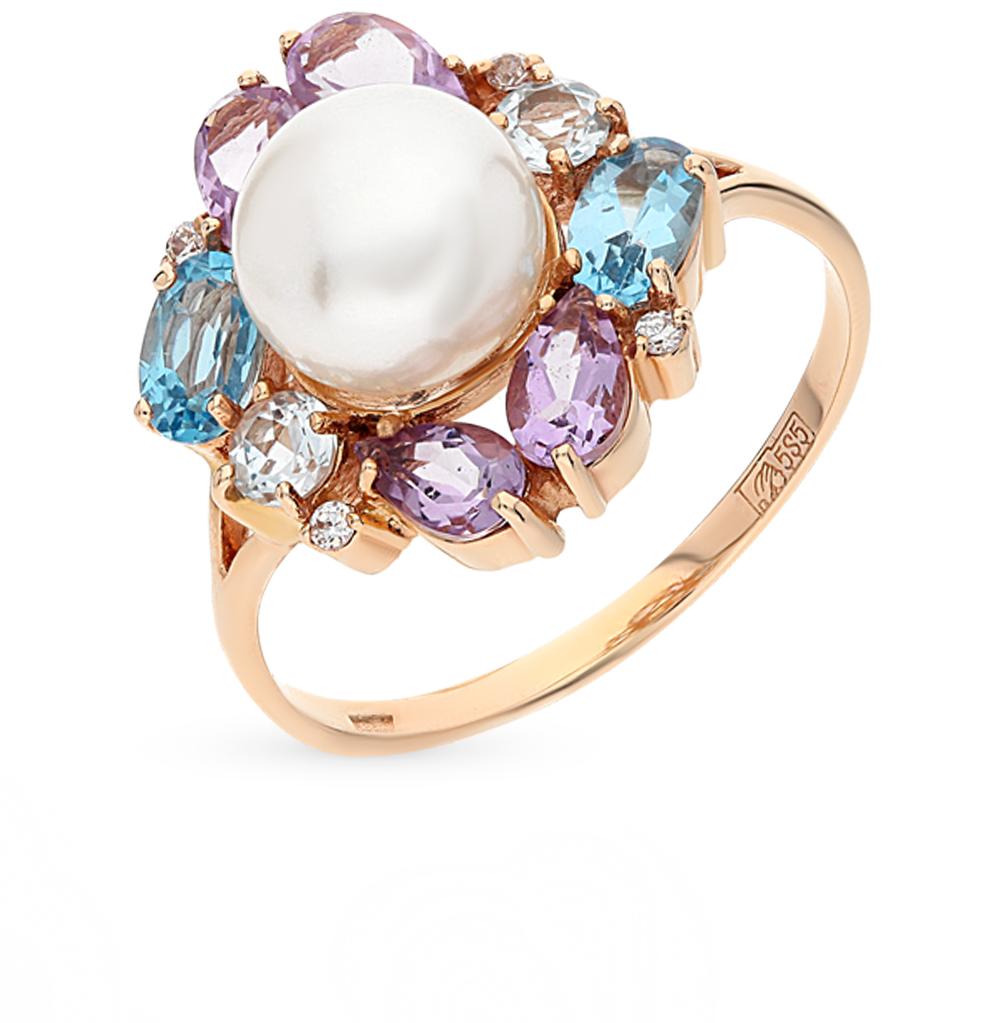 Фото «золотое кольцо с аметистами, топазами, фианитами и жемчугом»