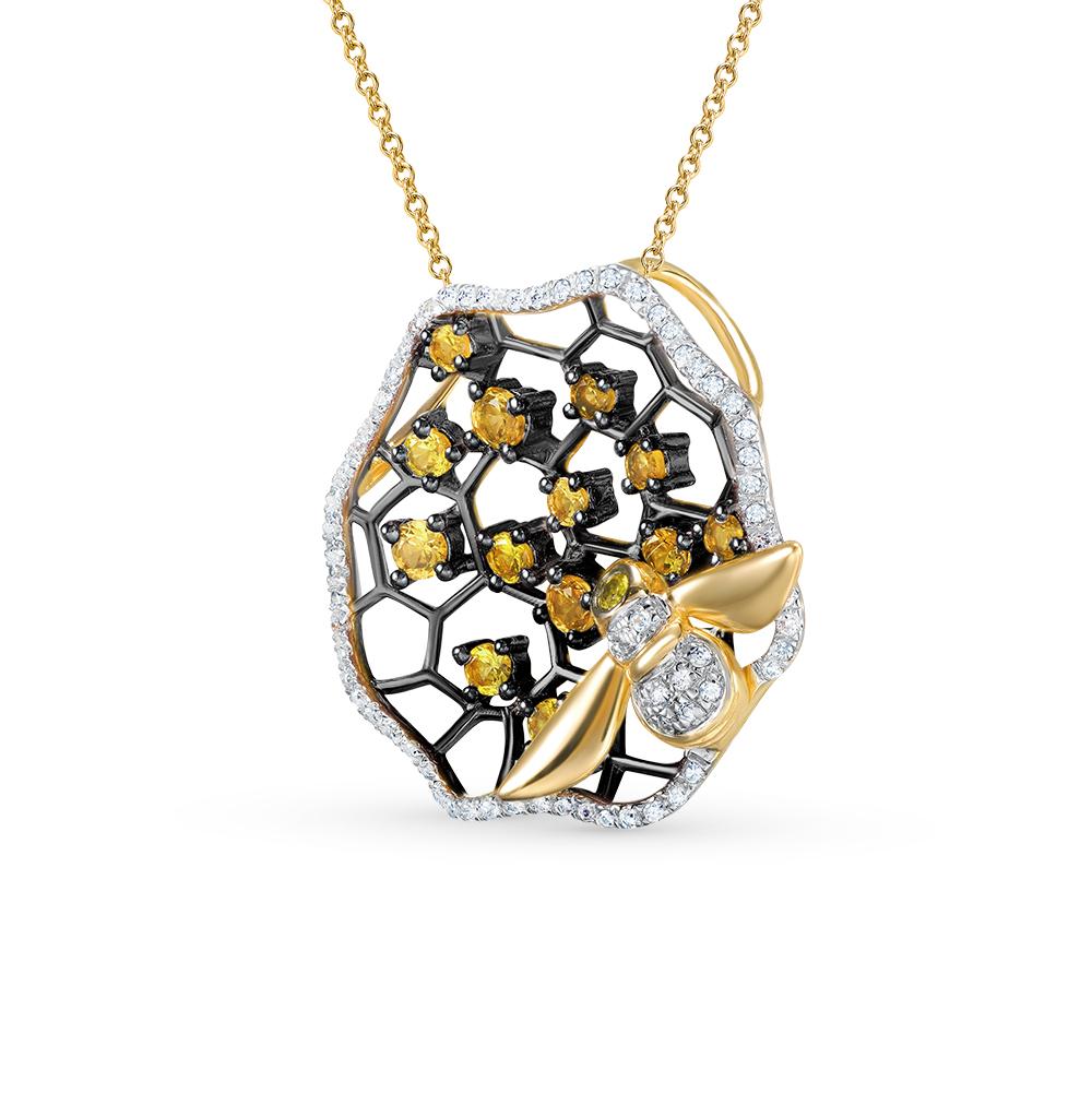 Фото «золотая подвеска с бриллиантами и цитринами»