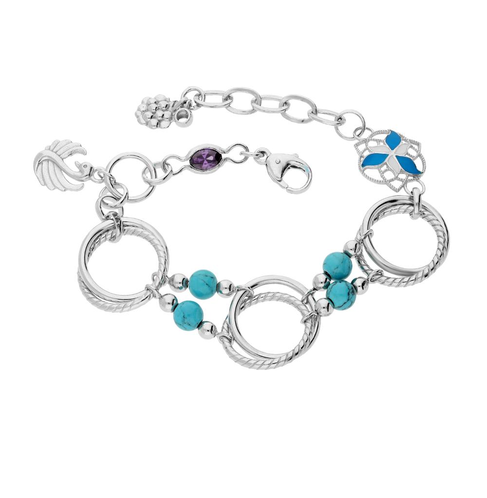 Фото «серебряный браслет с бирюза, фианитами и эмалью»