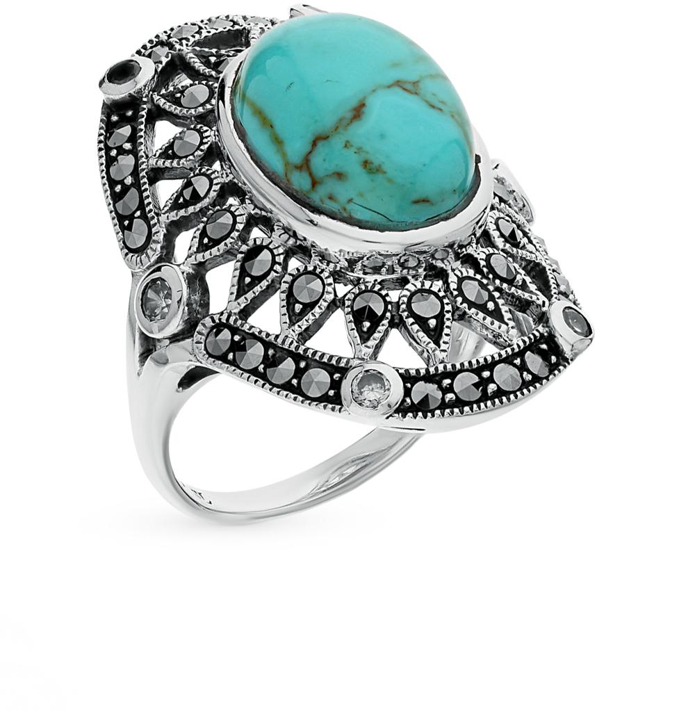Фото «серебряное кольцо с марказитами, бирюза и фианитами»