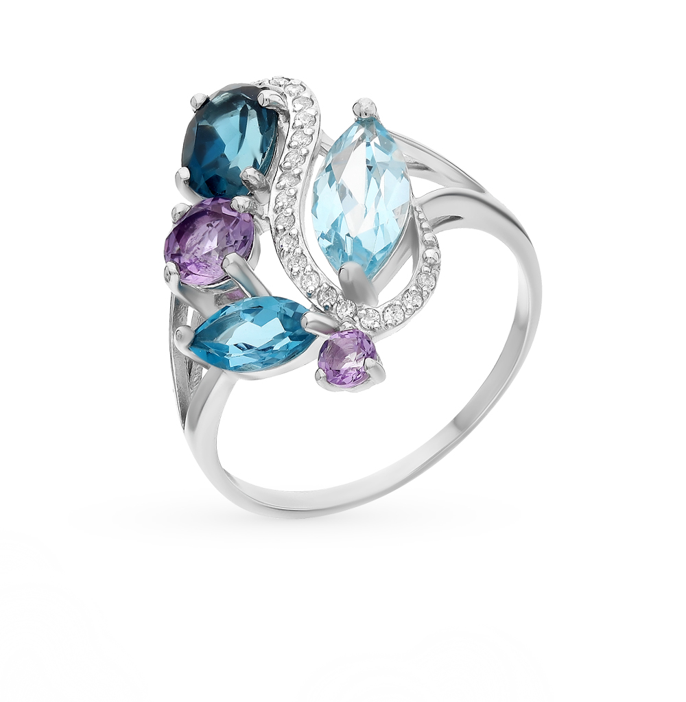 Фото «серебряное кольцо с аметистами, топазами и фианитами»