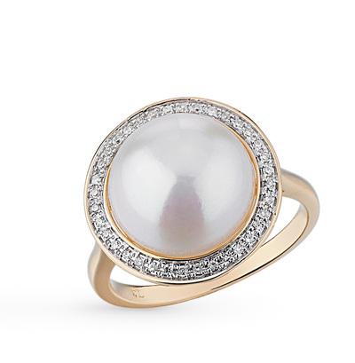 Фото «золотое кольцо с бриллиантами, культивированными жемчугом и жемчугом»