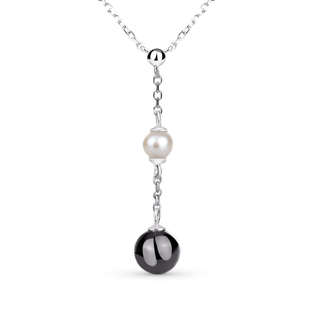 Фото «шейное украшение из серебра с жемчугом и керамикой»