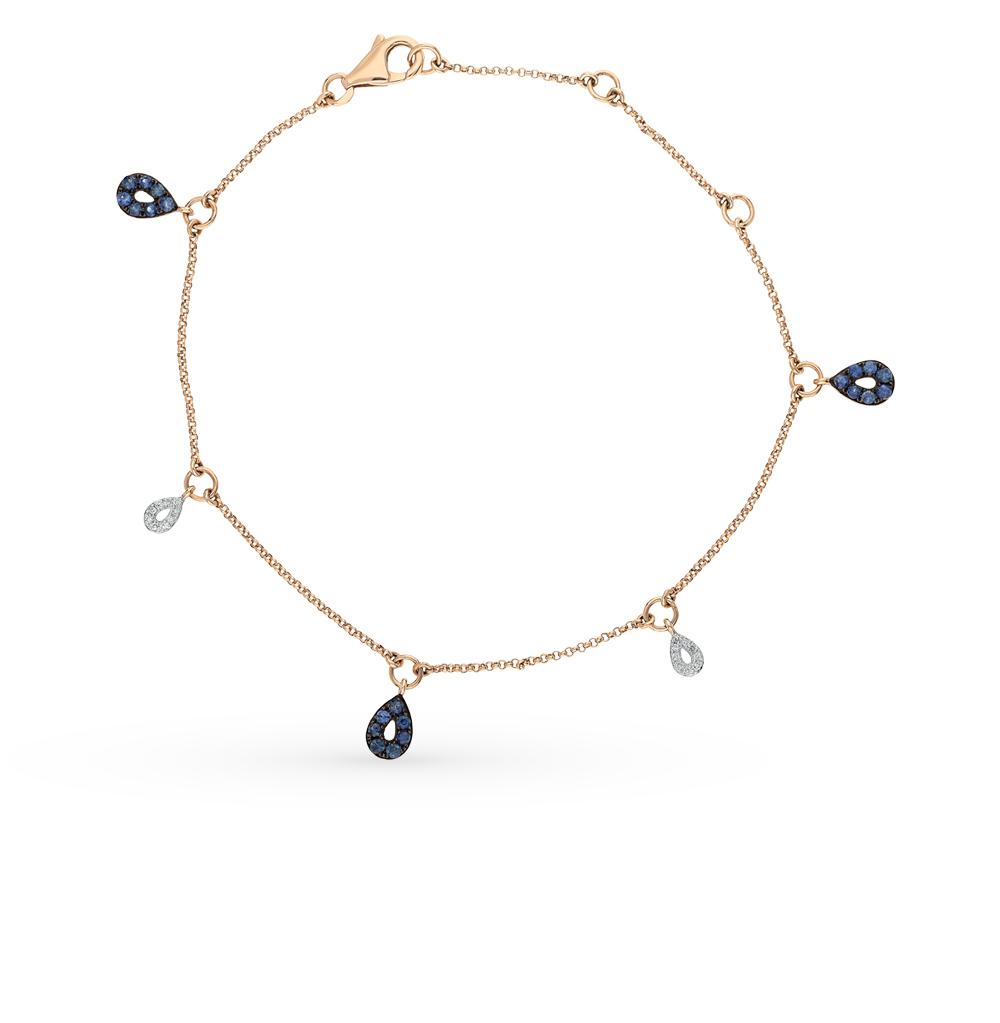 Фото «золото браслет с бриллиантами и сапфирами»