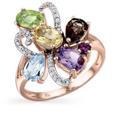 Фото «золотое кольцо с бриллиантами, аметистами, гранатами, цитринами, топазами и хризолитами»
