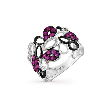 Фото «золотое кольцо с бриллиантами, эмалью и рубинами»