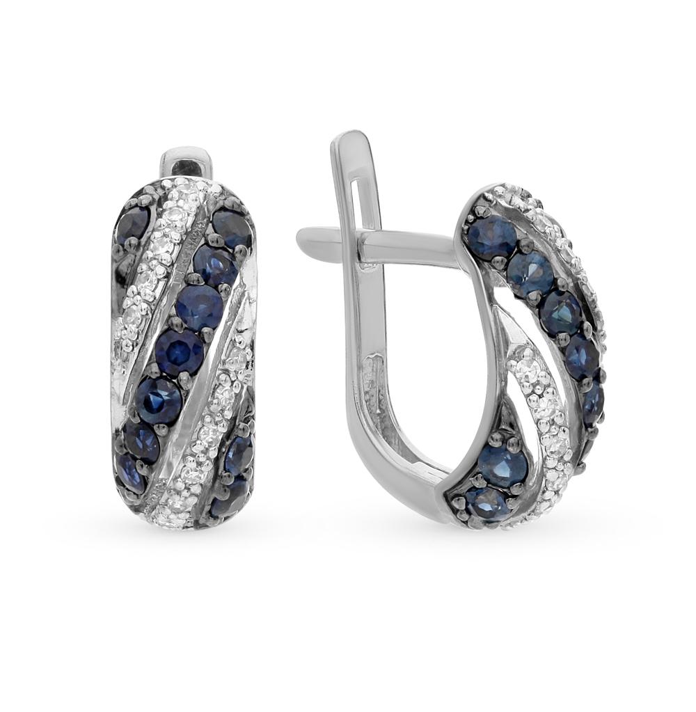 Фото «серьги с бриллиантами и сапфирами»