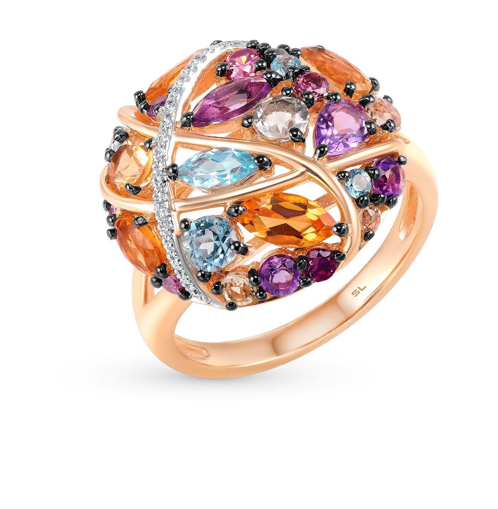 золотое кольцо с бриллиантами, аметистами, гранатами, цитринами, кварцами и топазами SUNLIGHT