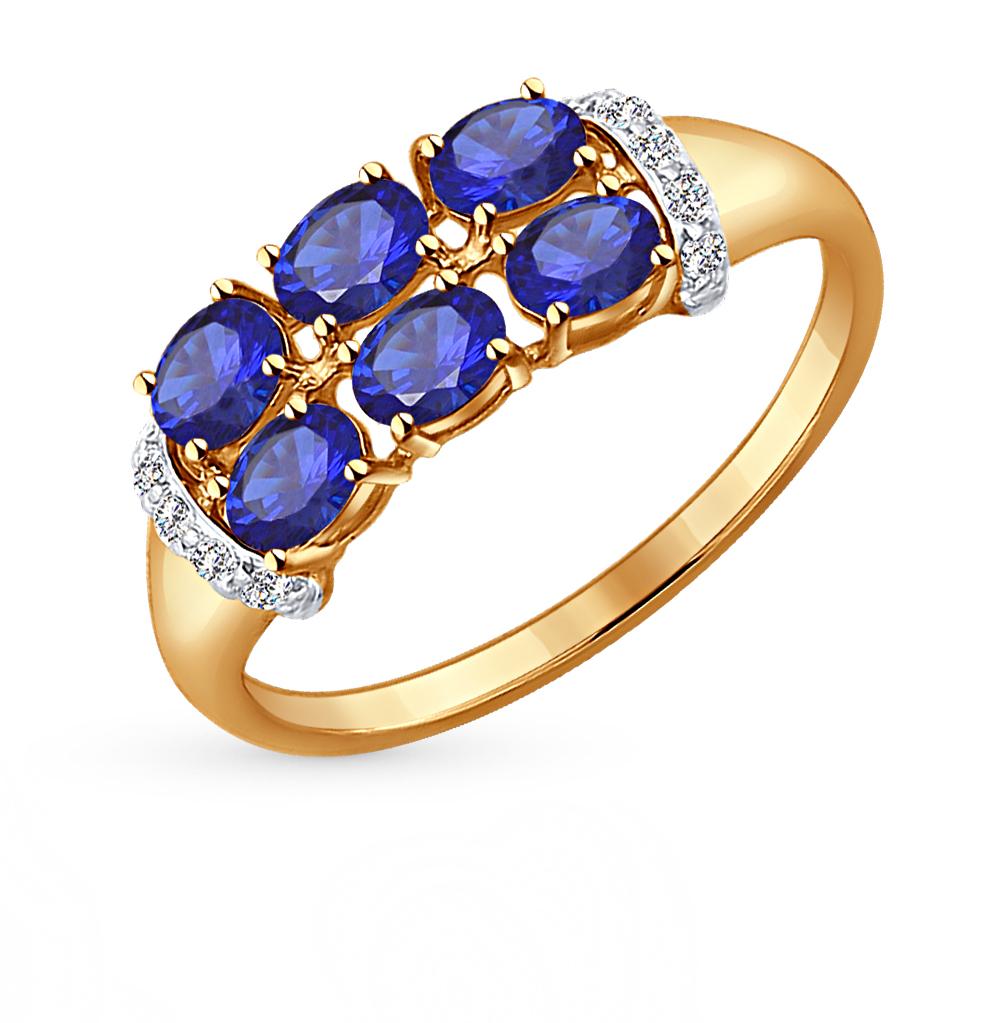 Фото «золотое кольцо с корундами синтетическими и фианитами»