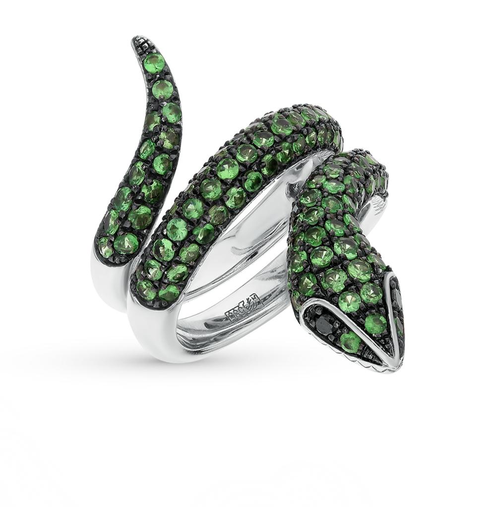 Фото «золото кольцо с чёрными бриллиантами и гранатами»