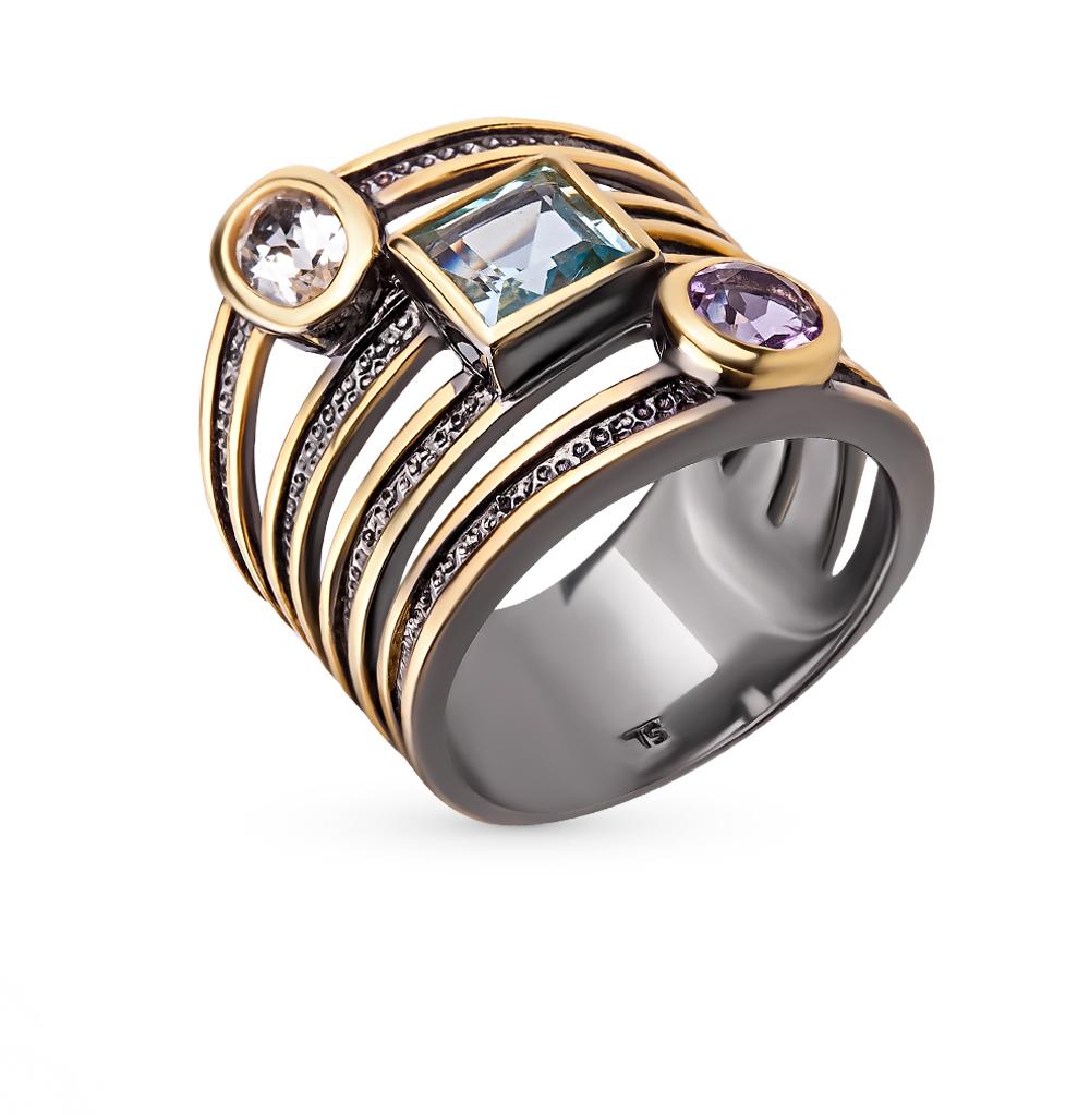 Фото «серебряное кольцо с аметистами и топазами»