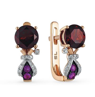 Фото «золотые серьги с бриллиантами, гранатами и рубинами»