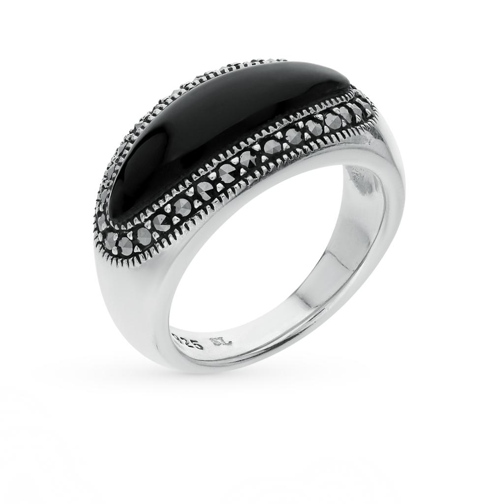 Фото «серебряное кольцо с марказитами и ониксом»