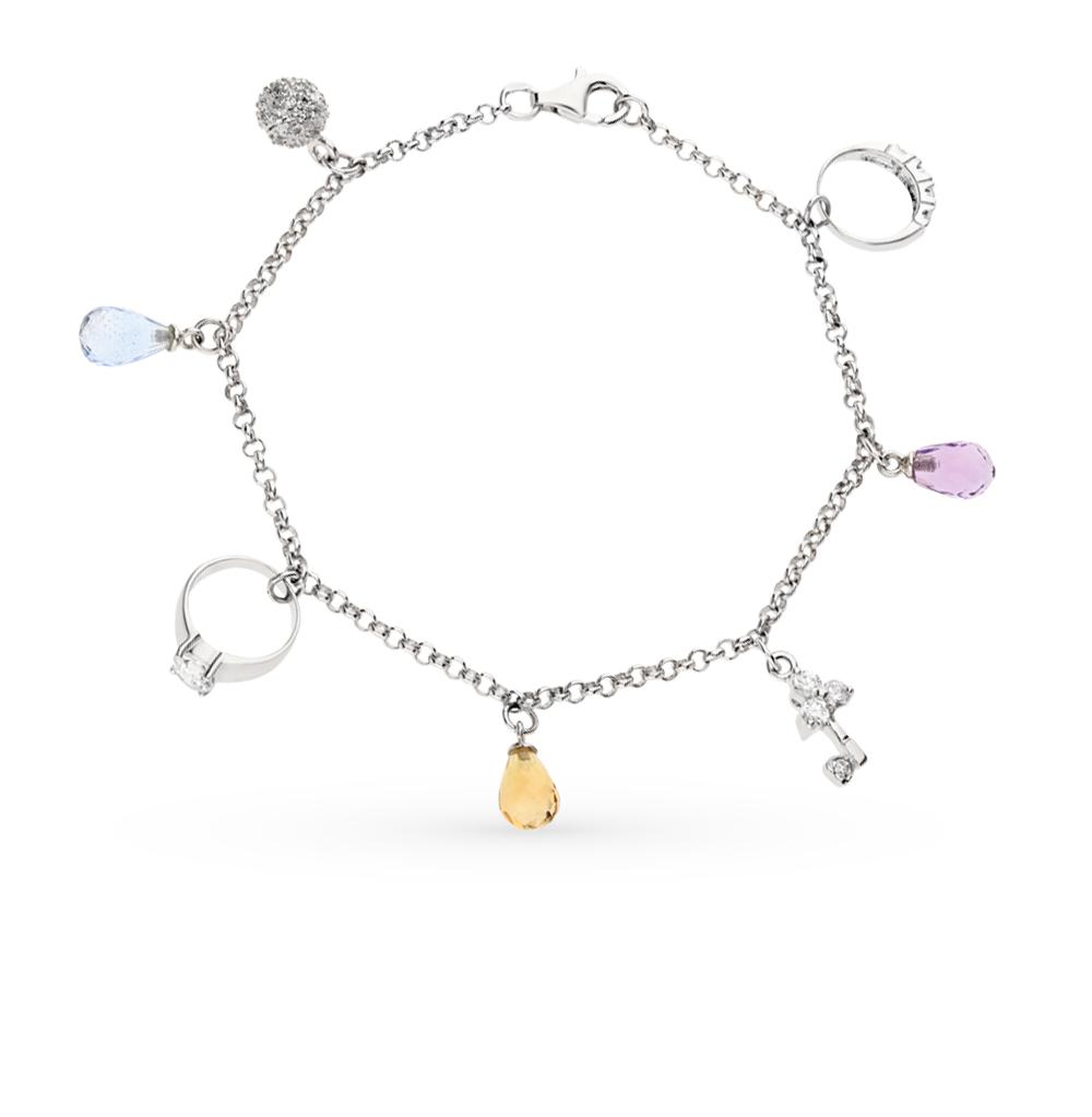 Фото «серебряный браслет с алпанитом и фианитами»