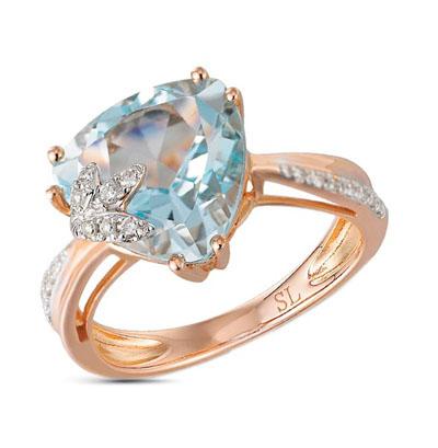Фото «золотое кольцо с бриллиантами и топазами»